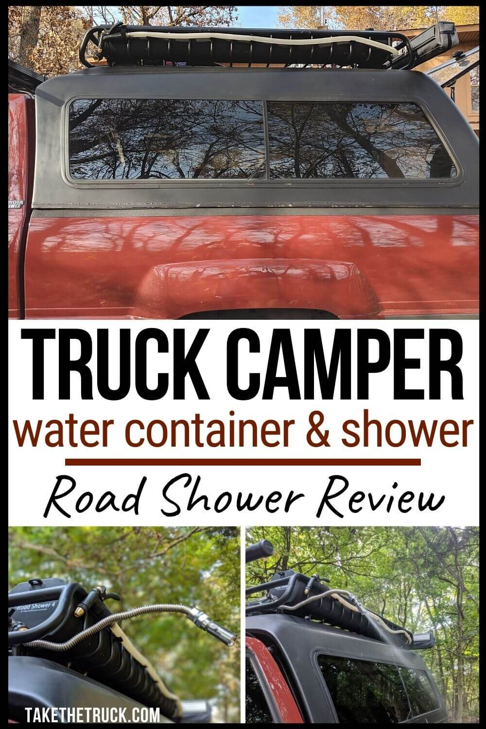 The Road Shower 4 is a truck camping water container and shower, all in one! The Roadshower makes a great outdoor shower for your camper and doubles as water storage for drinking.