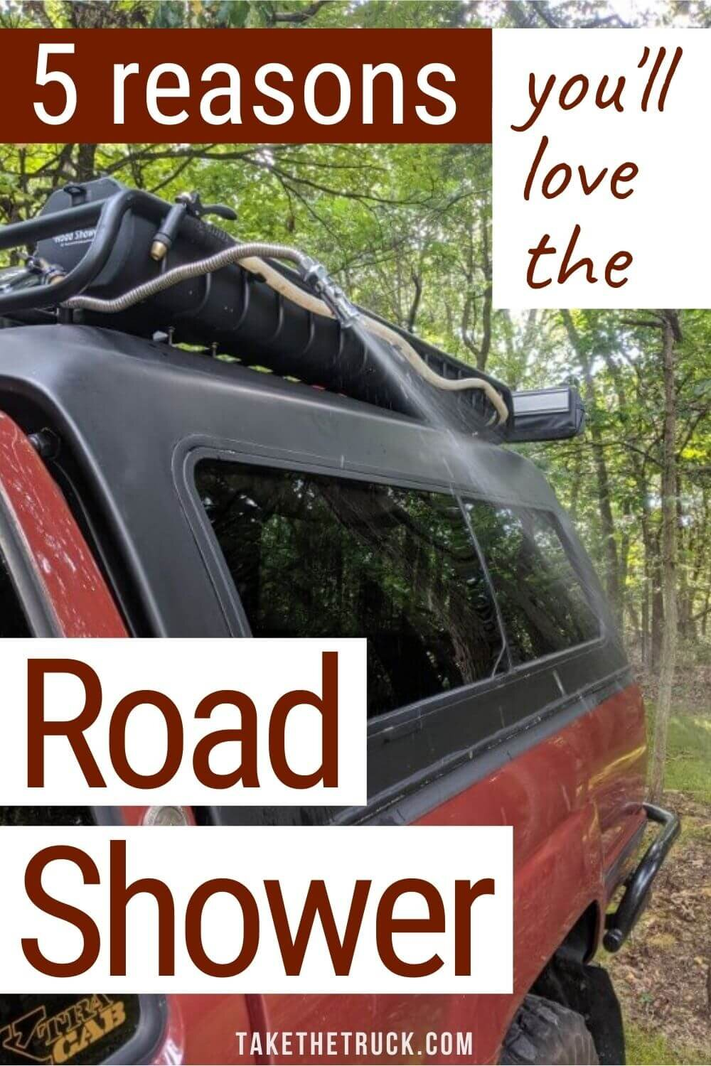 The Road Shower 4 is a truck camping water container and shower, in one! The Roadshower makes an awesome outdoor shower for your camper and doubles as water storage for drinking.