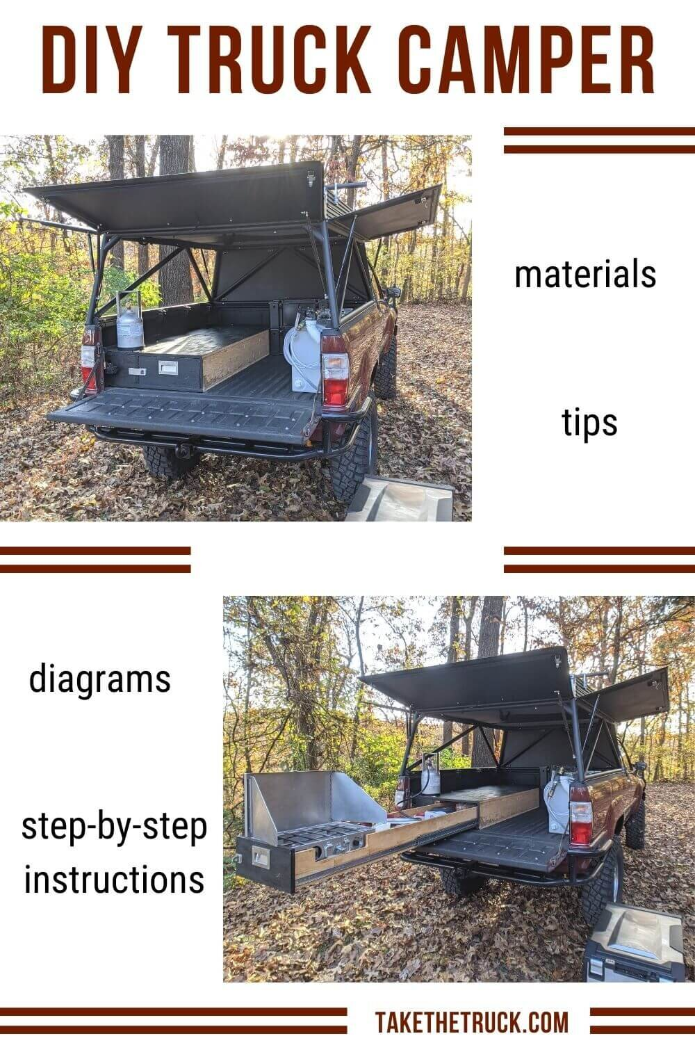 This post gives detailed truck bed camping platform plans and build instructions. This diy truck bed sleeping platform has a sliding truck drawer for more storage when you go camping in your pickup!