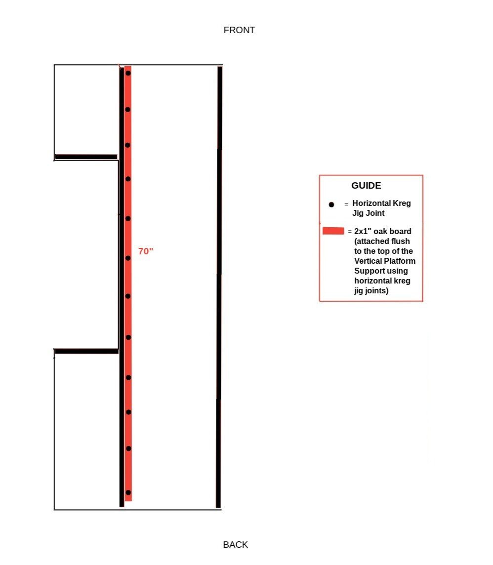 Diagram of the homemade diy truck camper sleeping platform support width addition