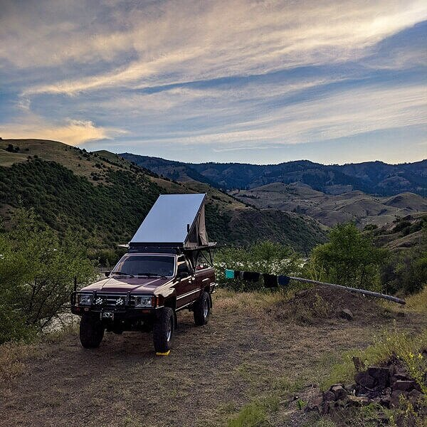 Go Fast Camper on Toyota truck camper, free camping in Idaho near Highway 95 and the Salmon River.