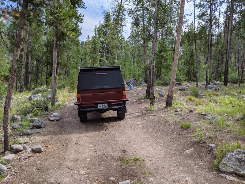 Free camping near Stanley, Idaho by the Sawtooth Mountains.