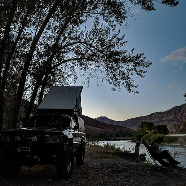 Free camping in a truck camper near Goldbug Hot Spring during an Idaho road trip.