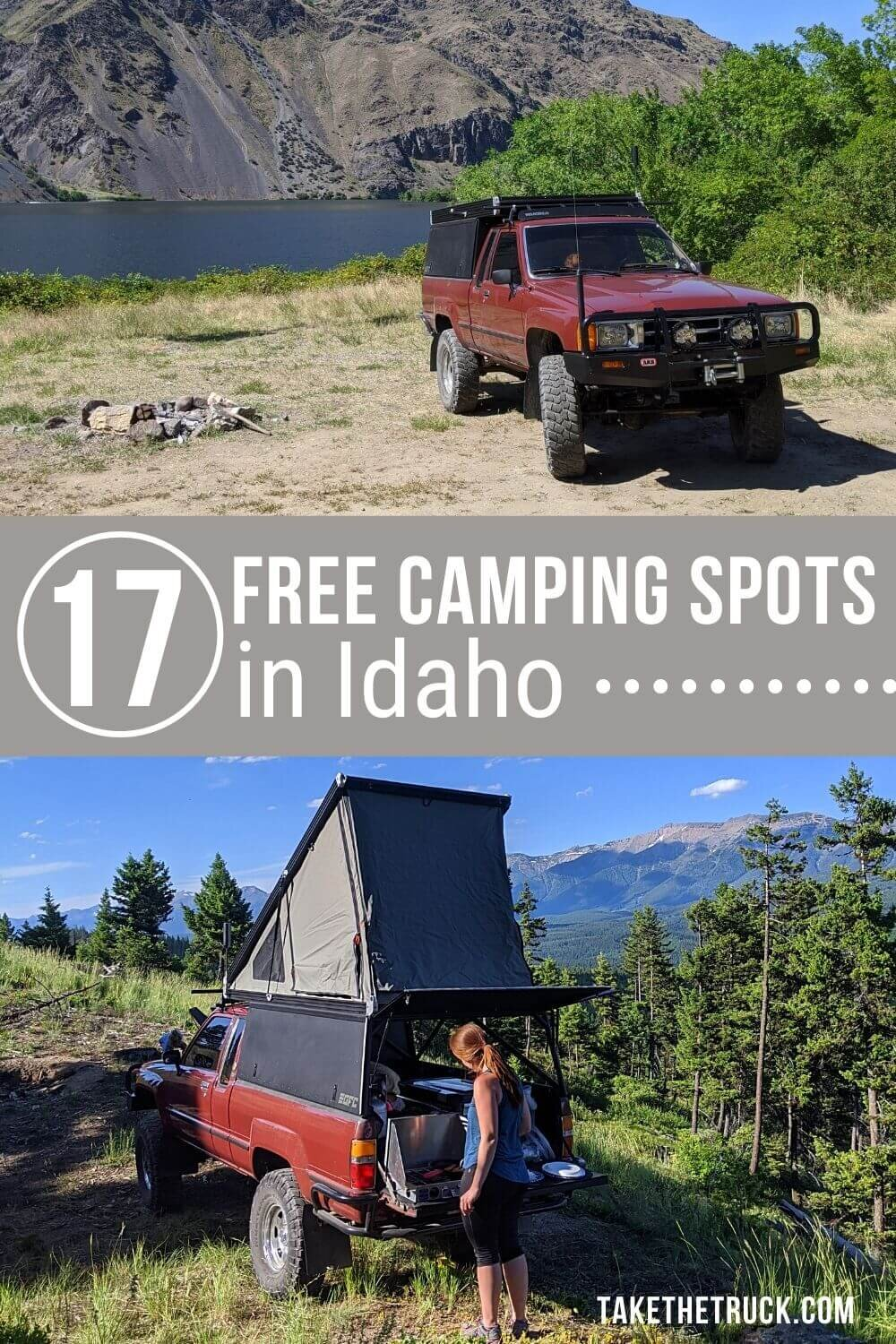 Looking for free camping in Idaho? This post gives all the details you'll need about 17 different boondocking spots - either national forest camping or blm camping in Idaho.