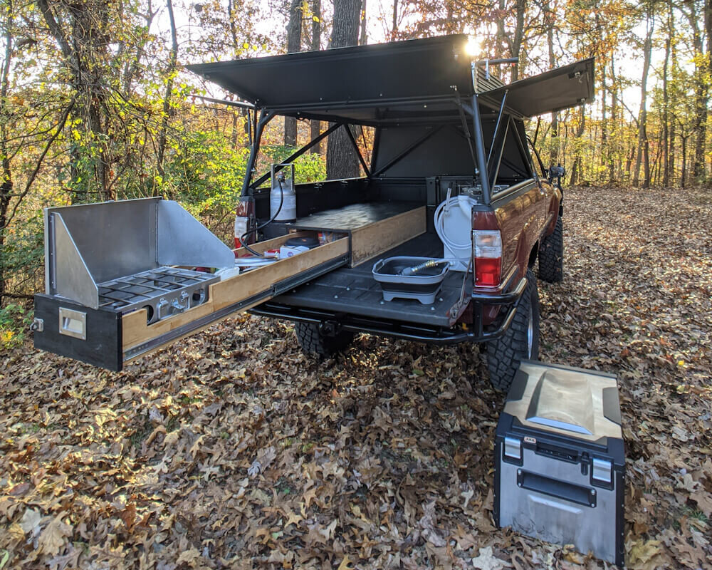 DIY homemade truck camper setup for camping and overlanding
