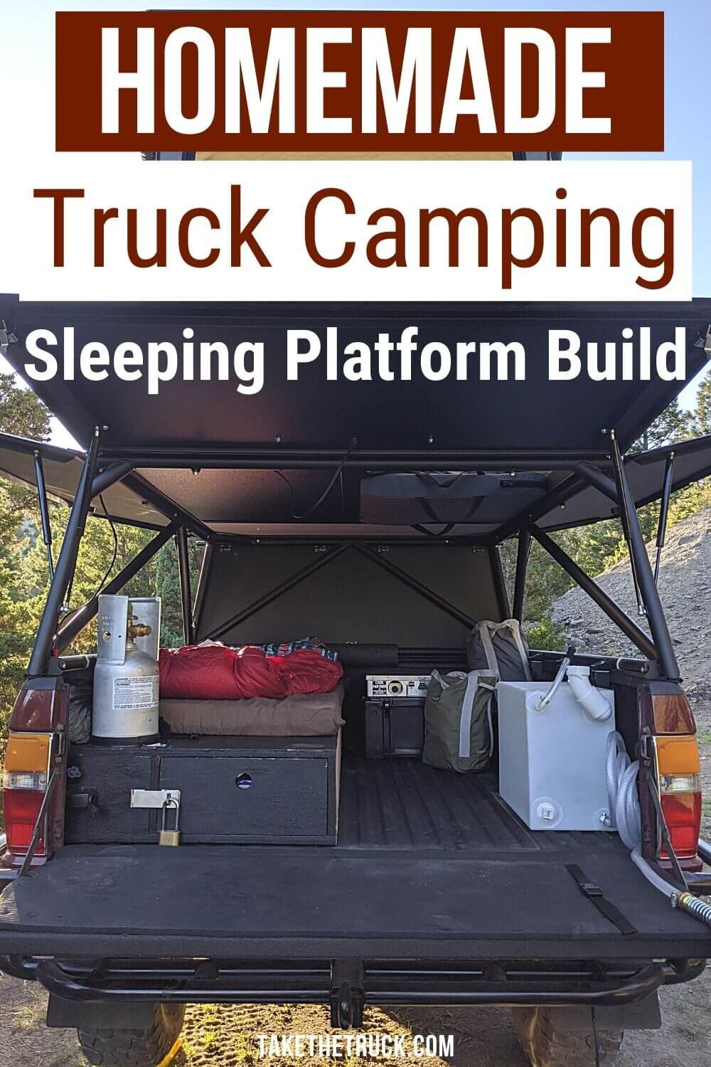This post gives detailed truck bed camping platform plans and build instructions. The diy truck shell sleeping platform has a sliding truck drawer for more storage when you go camping in your pickup!