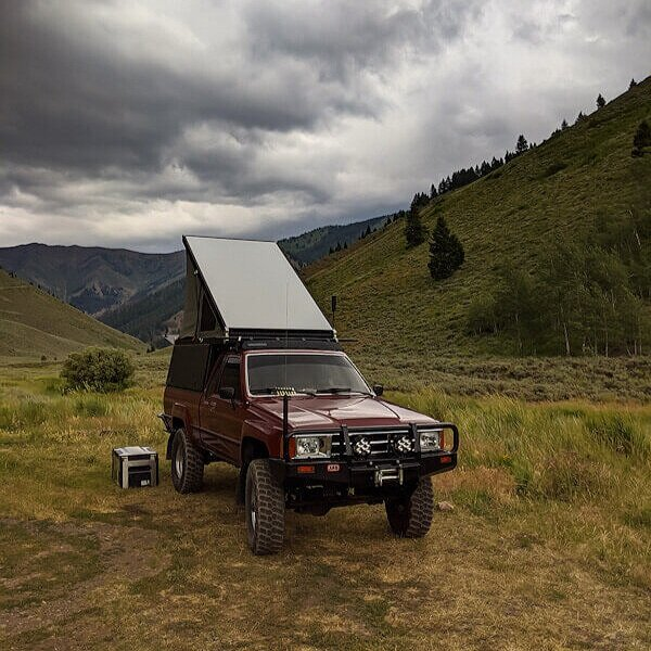 Go Fast Camper on old Toyota, free camping in Sawtooth Mountains of Idaho.