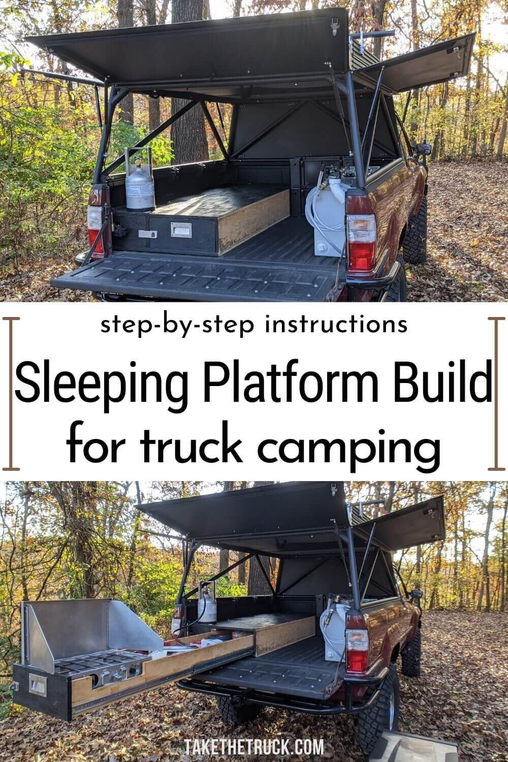 This post gives detailed truck bed camping platform plans and build instructions. This diy truck shell sleeping platform has a sliding truck drawer for more storage when you camp in your pickup!
