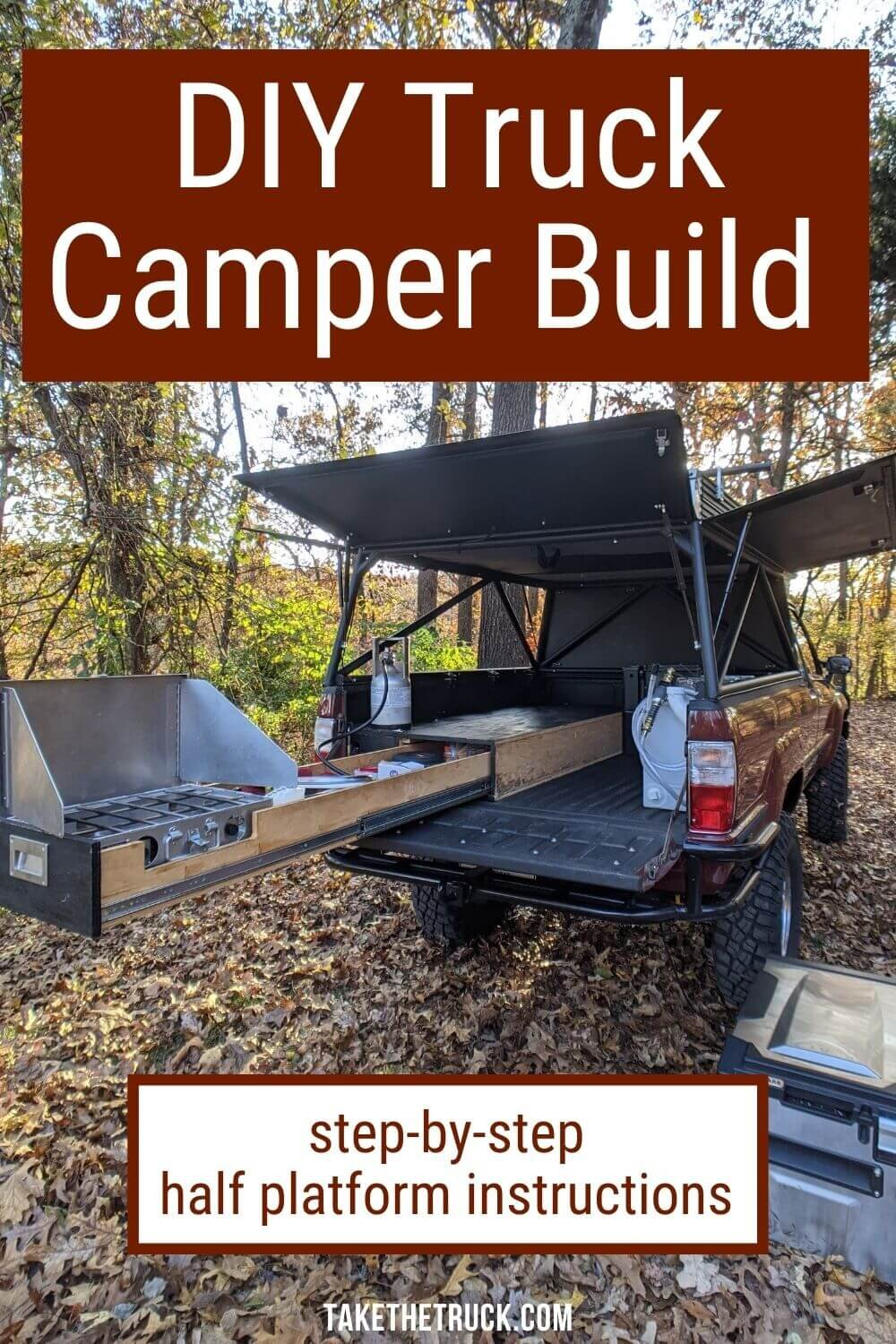 This post gives detailed truck shell camping platform plans and build instructions. This diy truck bed sleeping platform has a sliding truck drawer for more storage when you go camping in your pickup!