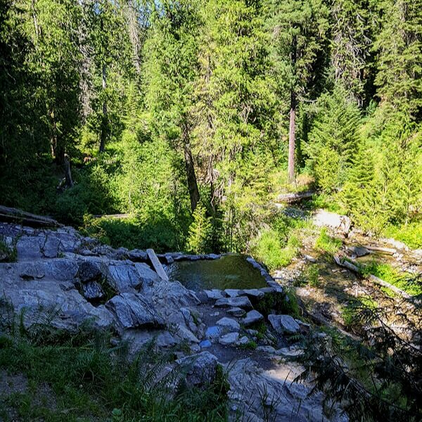 Free primitive tent camping near an idaho hot spring called Weir Creek