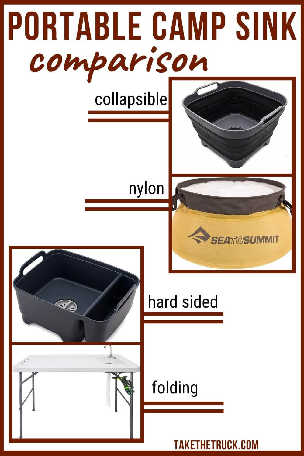 Looking for some good portable camping sink ideas? This post will help, whether you need a backpacking sink, collapsible camping sink, truck bed camping sink, or car, minivan, or suv camping sink!