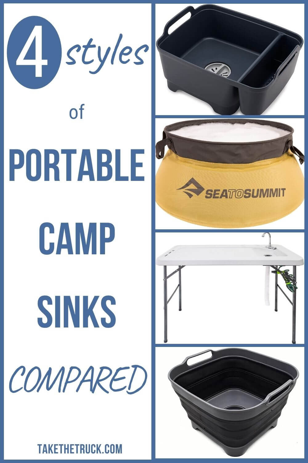Looking for a good portable camping sink idea? This post will help, whether you need a backpacking sink, collapsible camping sink, truck bed camping sink, or car, suv, or minivan camping sink!