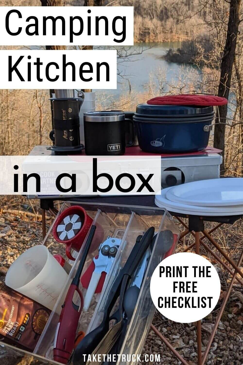 How to set up a camping kitchen in a box.
