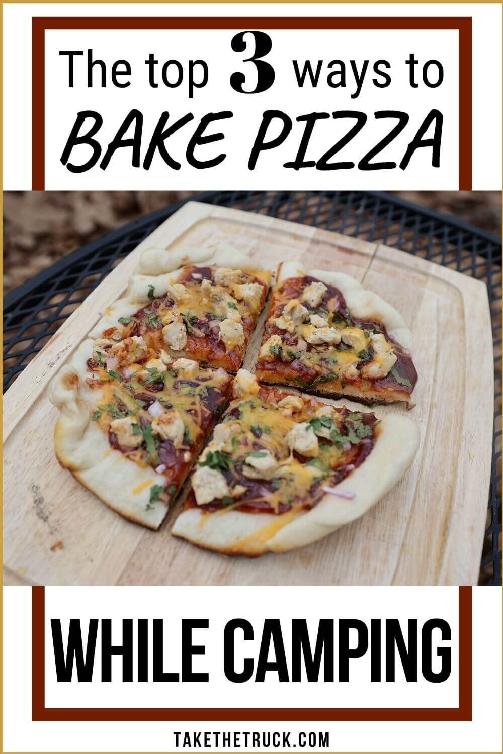 Want pizza while camping? Here's 3 easy options for enjoying camping pizza: dutch oven pizza in a cast iron skillet, pie iron pizza (aka pudgy pie pizza), and melty campfire pizza.