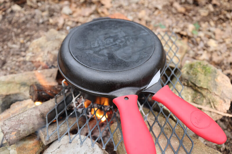 dutch oven pizza at camp in lodge cast iron