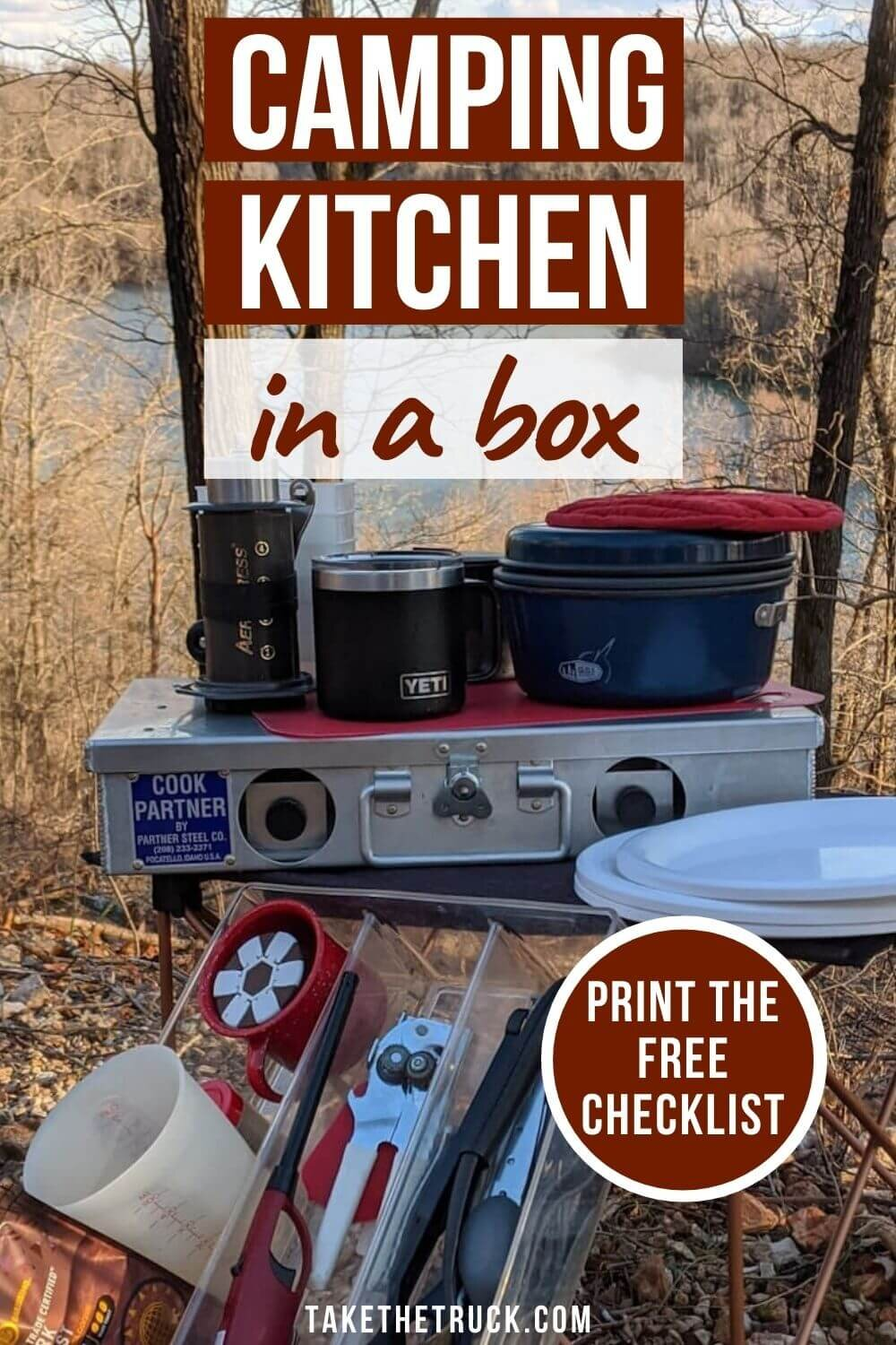 Camping kitchen supplies and tips for set up.