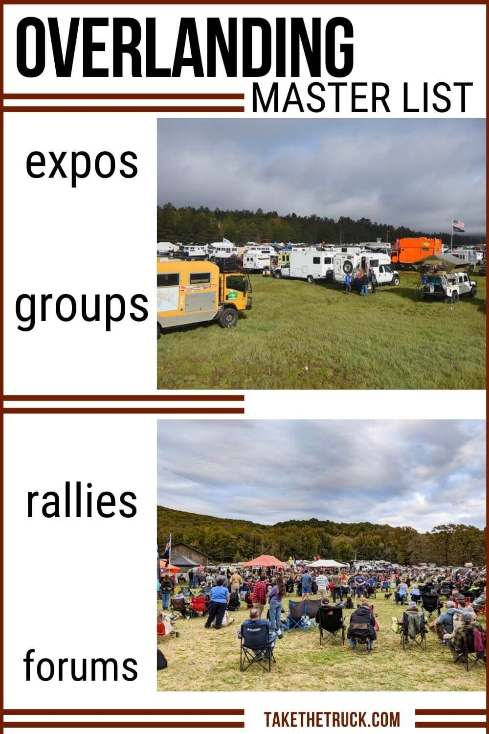 Are you an overlanding beginner wondering how to start overlanding? Use this master list to find an overland event, overland group, forum, overland expo, or overland rally all about overland travel!