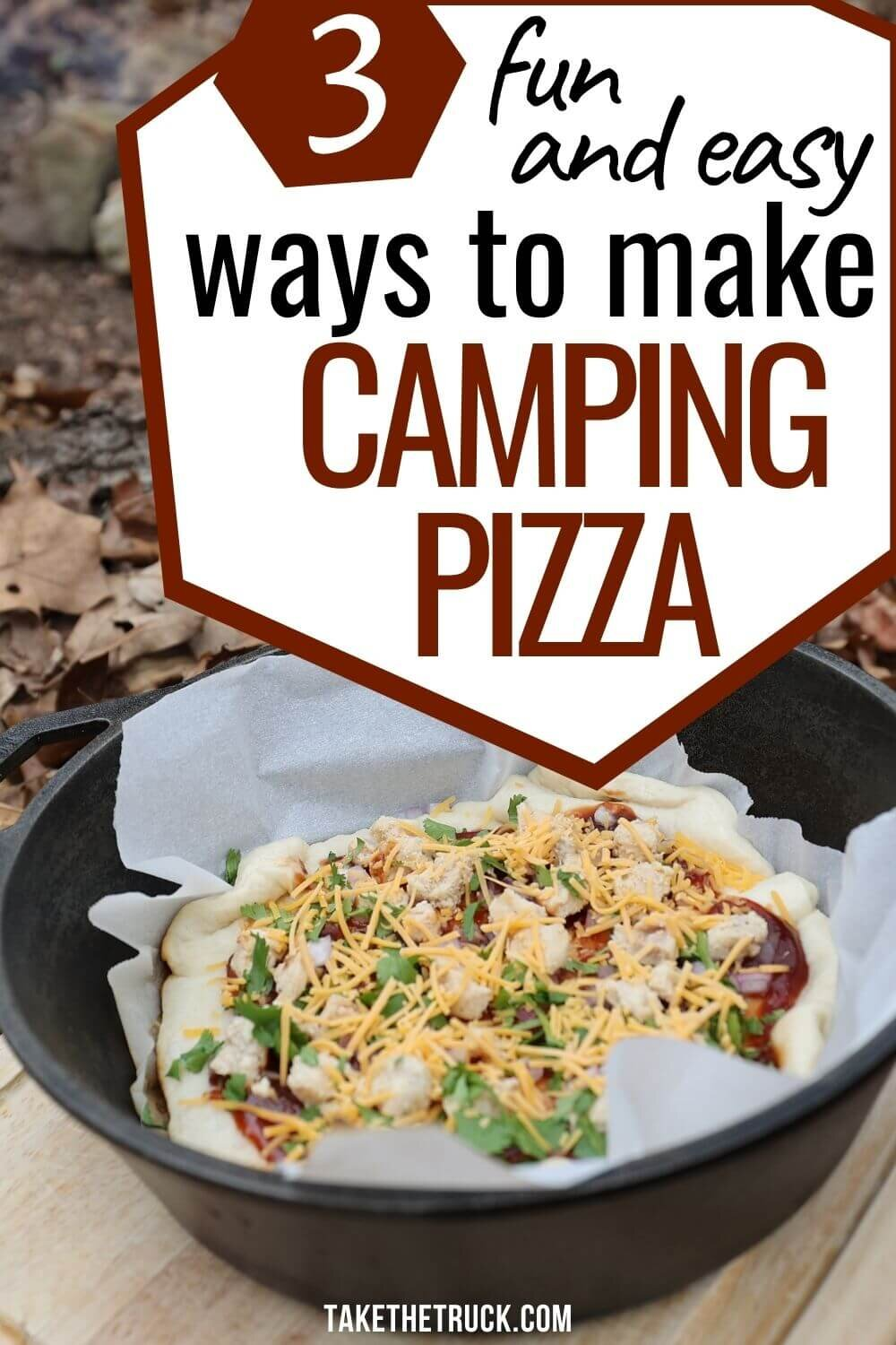 Want pizza while camping? Here's 3 easy options for enjoying camping pizza: melty campfire pizza, dutch oven pizza in a cast iron skillet, and pie iron pizza (aka pudgy pie pizza).