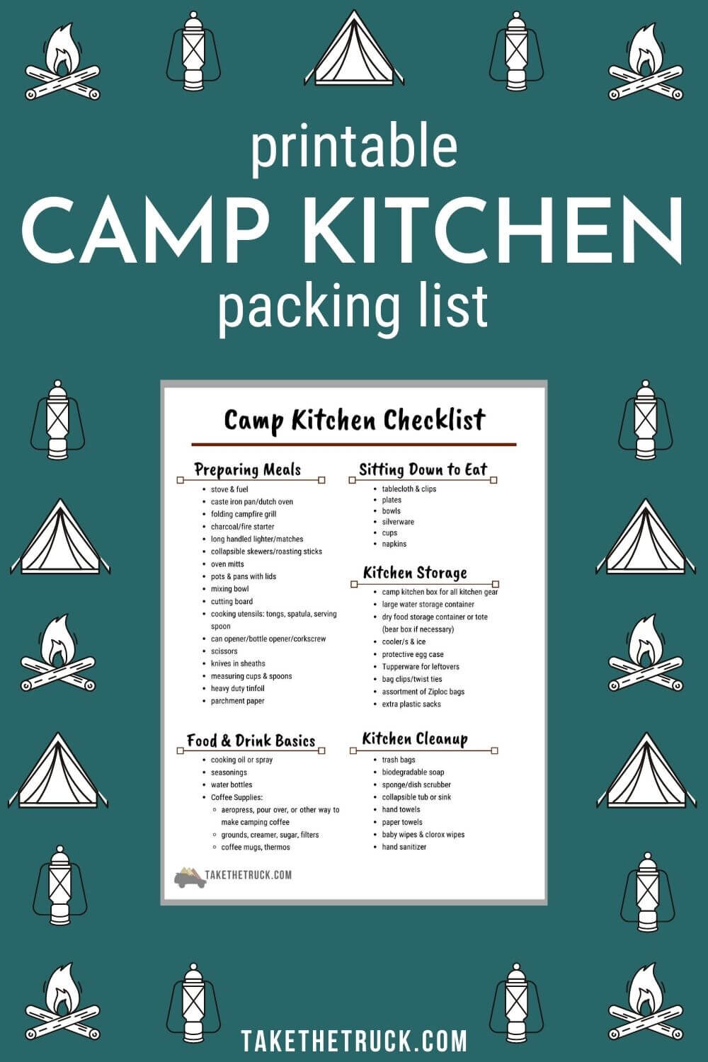 Checklist for setting up a camp kitchen in a box.