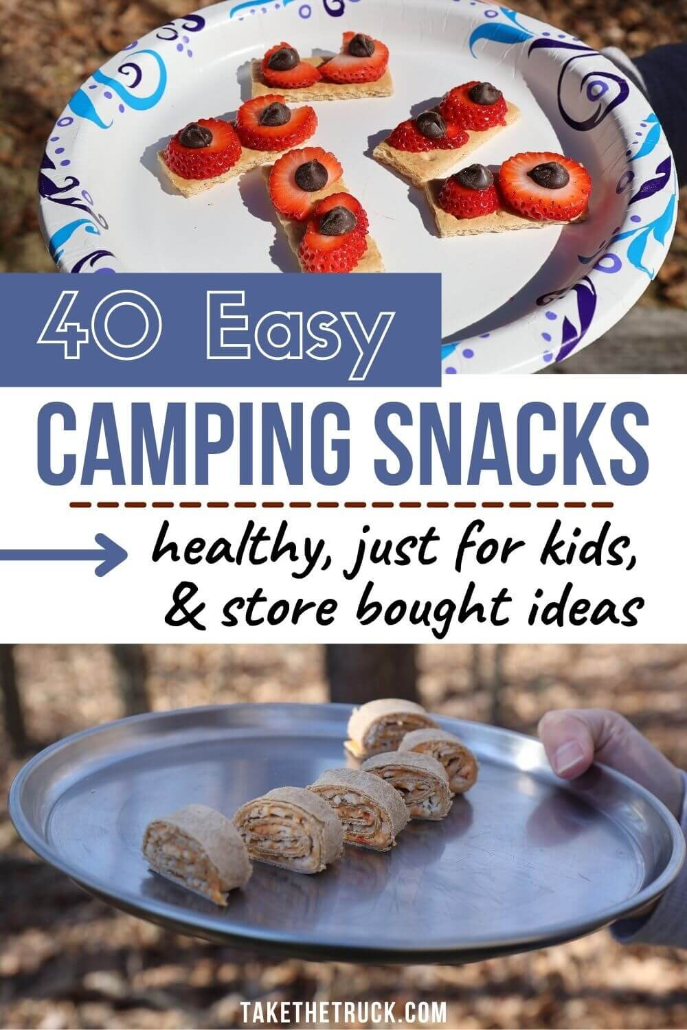 Over 30 easy camping snacks divided into: camping snacks to buy, simple camping snacks for kids, and healthy camping snacks for adults and kids. These are all simple camping snack ideas!
