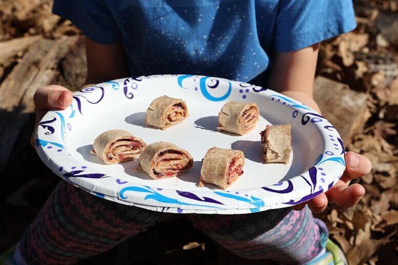peanut butter pinwheels as easy camping snacks for kids