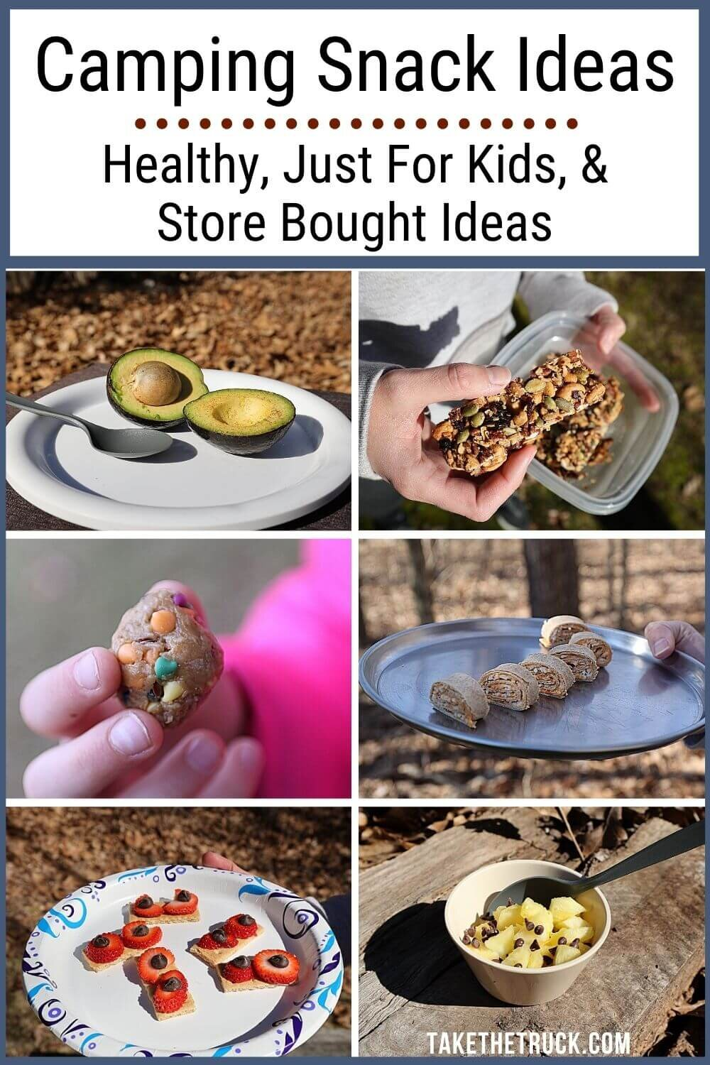 Over 30 easy camping snacks divided into: simple camping snacks for kids, camping snacks to buy, and healthy camping snacks for adults and kids. These are all simple camping snack ideas!