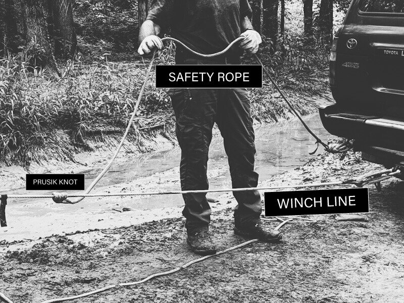 tying a secondary safety rope as a recovery damper for winching during an off road recovery