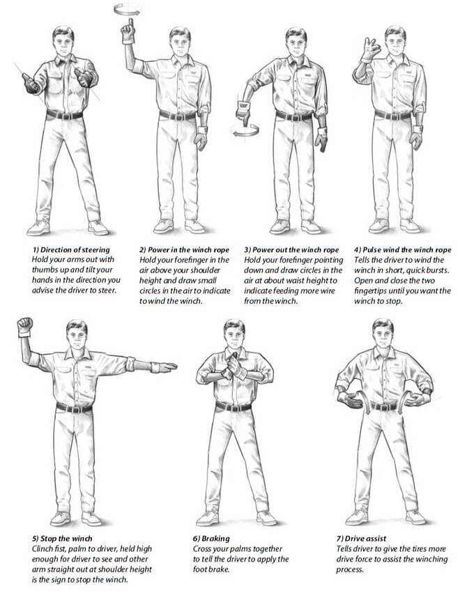 overlanding recovery gear guide winching hand signals