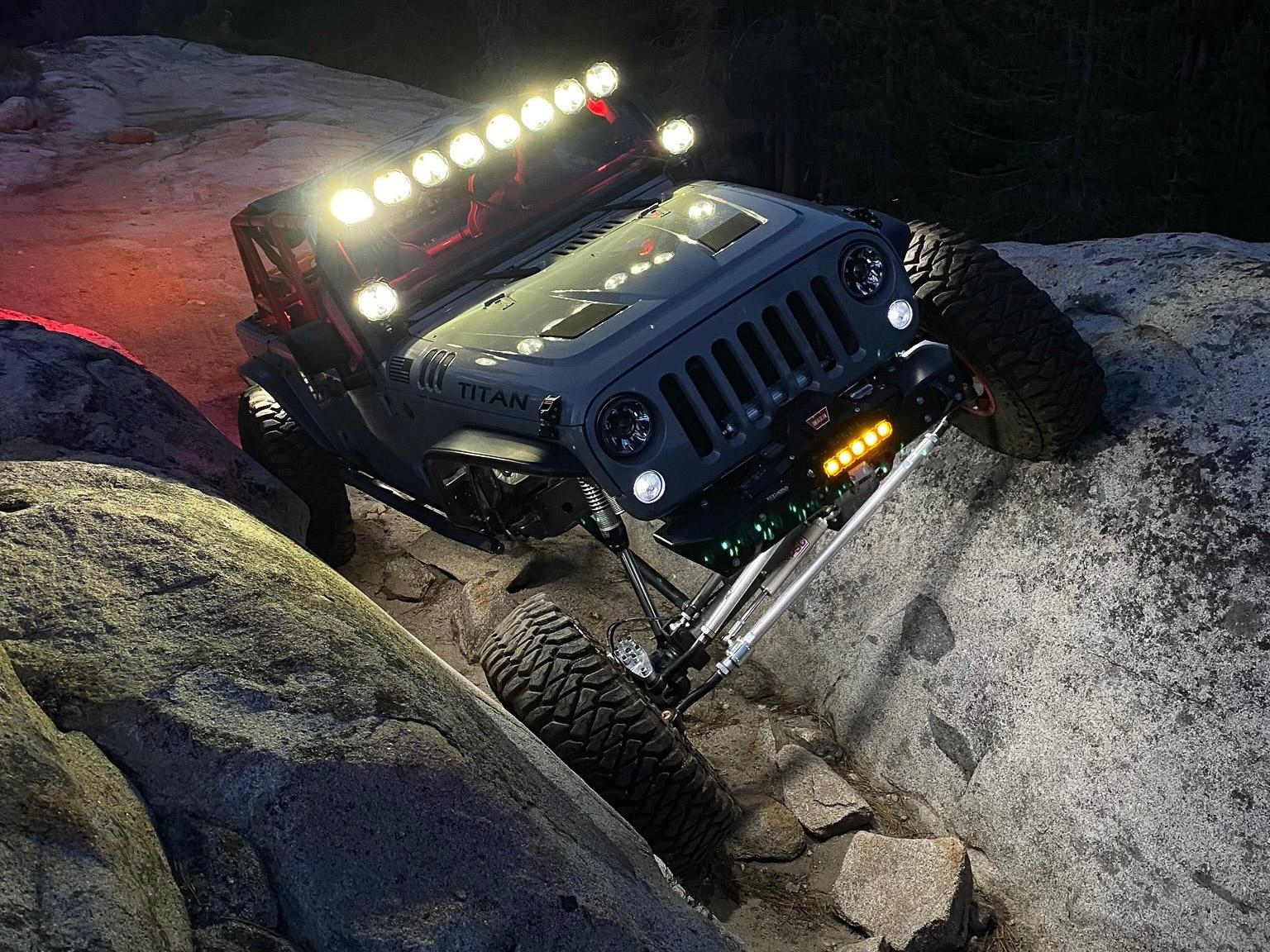 Custom Jeep JK Rock Crawling at Night