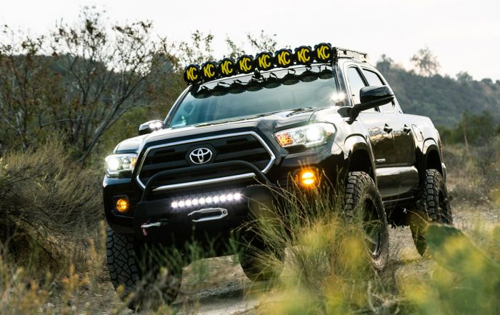 Black KC Toyota Tacoma - Off Road Build with Integrated Lighting Roof Racks