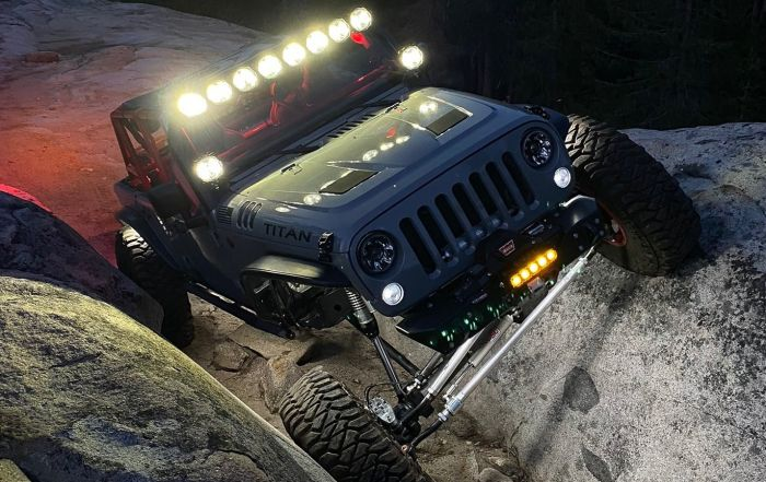 Adam's Custom Jeep JK Rock Crawling at Night