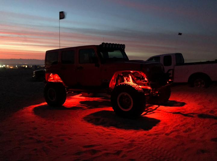 Big Red Jeep JK Off Road Build with Rock Lights- Image #03